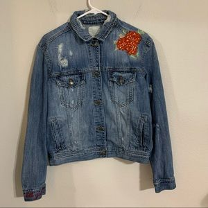 American Eagle Embroidered Jean Jacket